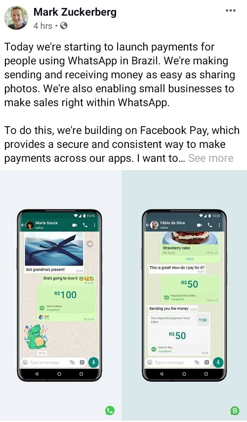 WhatsApp introduce Payment